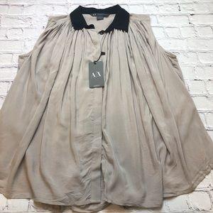 Armani Exchange sleeveless contrast collar flutter